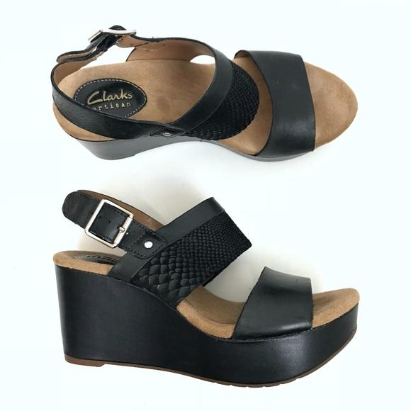 b45abb65ae2 Clarks Shoes - Clarks Caslynn Kat High Heel Sandal Wedge Black 7